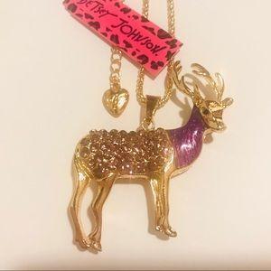 Purple Crystal Deer Necklace